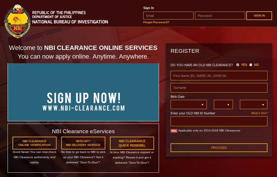 Online Application and Renewal of NBI Clearance 2018