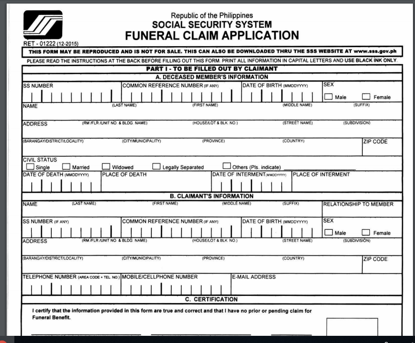 SSS Burial/Funeral Claim